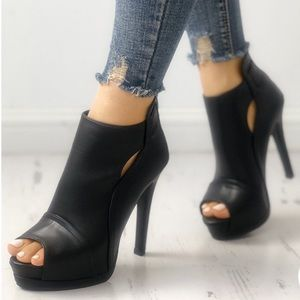 Shoes - NEW Peep Toe Stiletto Bootie's
